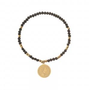 Bransoletka moneta, czarny, złoty S1V72150-Z