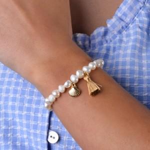 Bransoletka perły, muszla, złoty S1V71891-Z