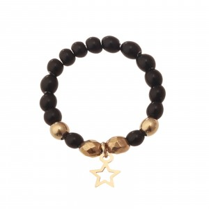 Pierścionek elastyczny, gwiazdka,czarny S4V70361-Z