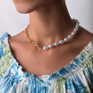 Naszyjnik perły, kolor złoty S3V72054-Z