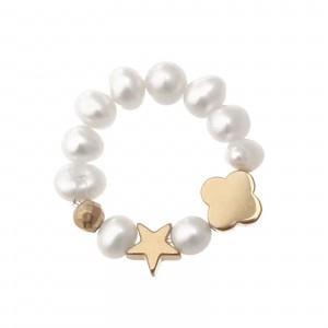 Pierścionek elastyczny, perły, gwiazdka S4V70365-Z