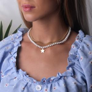 Naszyjnik łańcuch, perły, złoty S3V72064-Z