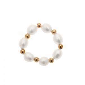 Pierścionek perełki, złoty S4V70351-Z