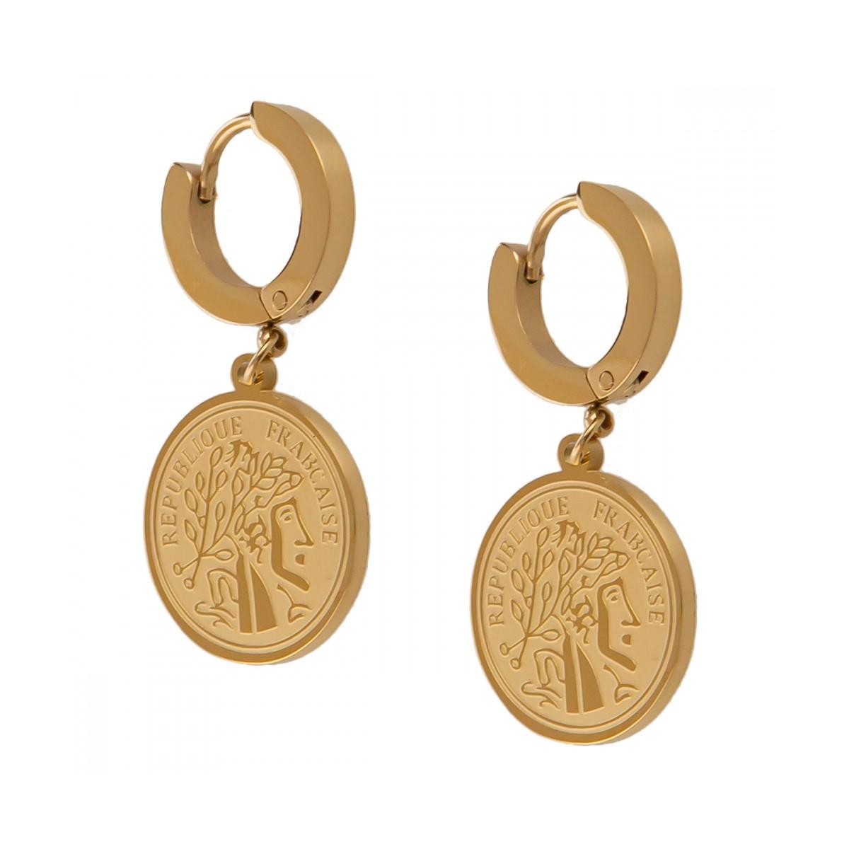 Kolczyki moneta, kolor złoty S2V71238-Z