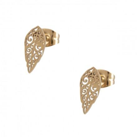 Kolczyki liść ażurowy, kolor złoty S2V71382-Z