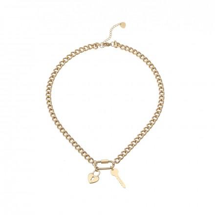 Naszyjnik łańuch, kluczyk, serce, złoty S3V71973-Z