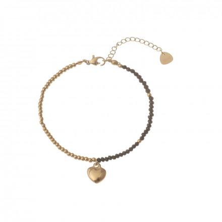 Bransoletka kryształki, serce, złoty S1V71872-3Z