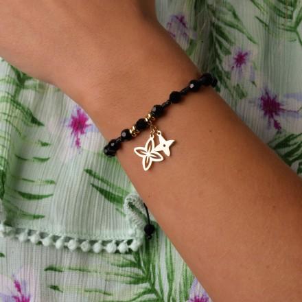 Bransoletka lilie, czarny, złoty S1V72012-1Z
