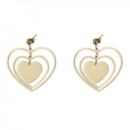 Kolczyki serca, kolor złoty S2V71556-Z