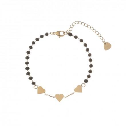Bransoletka serca, kryształki, czarny S1V72141-Z