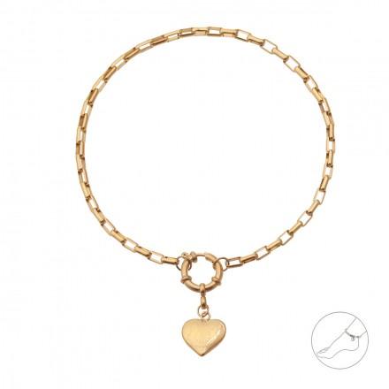 Bransoletka na kostkę, serce, złoty S1V71935-Z