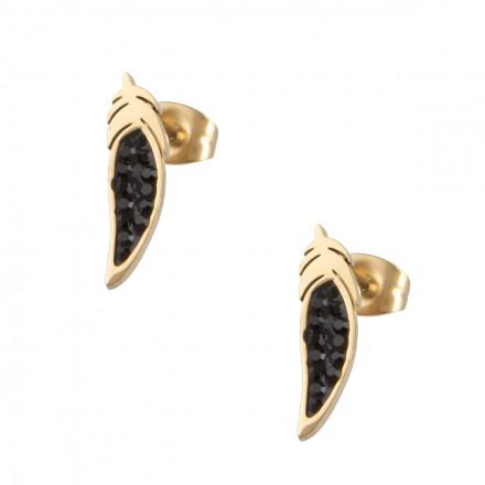 Kolczyki pióro, kryształki,złoty S2V71409-Z